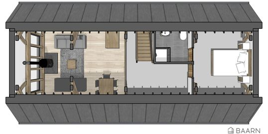 BAARN Loft House kit house first floor plan - Roderick James Architects