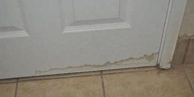 Possible floor damage water line on door Home Inspection Best Inspection Company near me quote cost