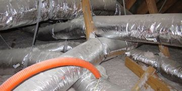 Condensation leaks causing ceiling damage ductwork being in contact Houston home inspection schedule