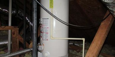 No condensate drip leg on gas line at water heater of home in Houston when inspected by inspector