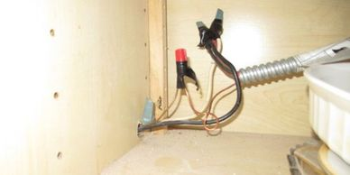 Improperly spliced electrical wires not in junction box protective conduit Houston Home Inspection