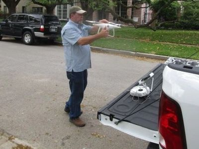 Brad Leland, Inspector ready to fly the drone to inspect the roof of a 3 story home in Houston, Tx.