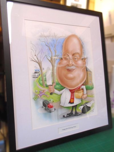 Framed 'Digital style' caricature