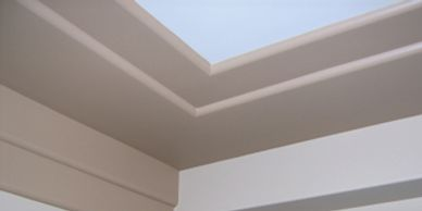 An inexpensive way to add detail to a ceiling or wall as shown.  Designs are infinite.