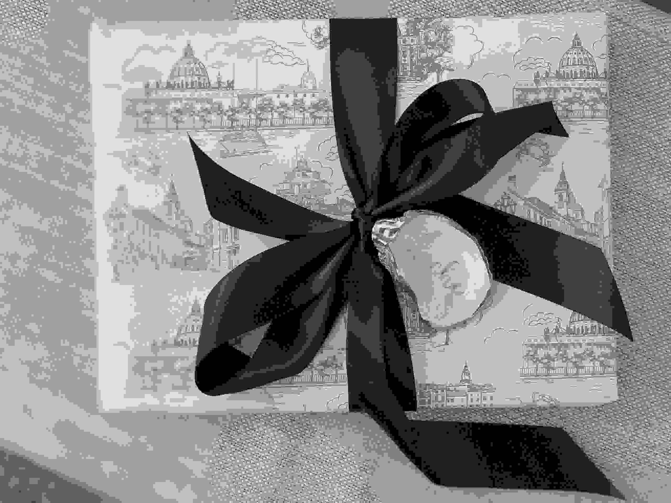 Hand drawn Annapolis Toile Packaging with one of our personalized oyster shells.