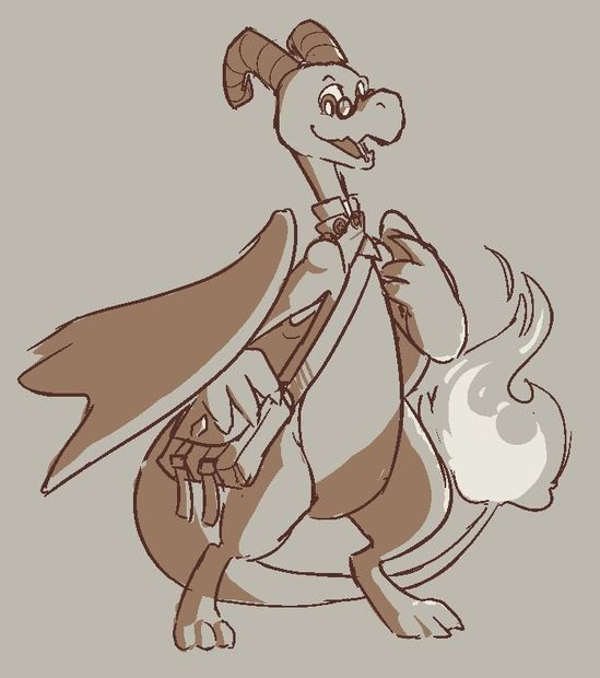 A dragon with curly ram horns looks happy as he clutches his messenger bag and smiles at the viewer