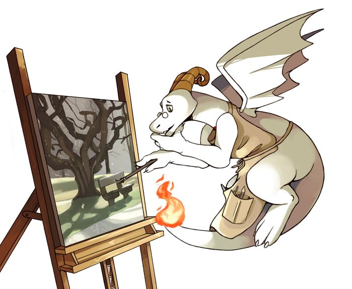 A white and red dragon that is flying while painting a painting, looking very pensive