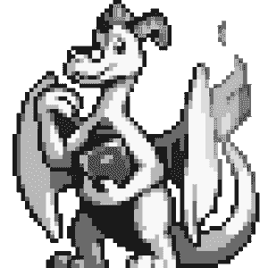 A pixellated red and white dragon holding a book in one hand is smiling at the viewer.