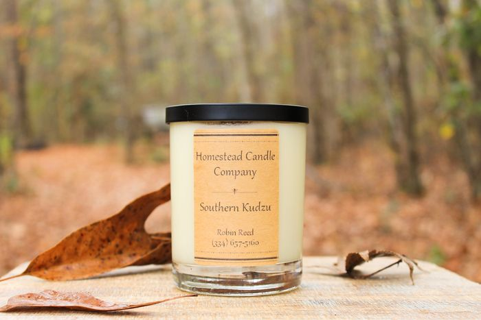 Southern Kudzu candle with wooden wick.