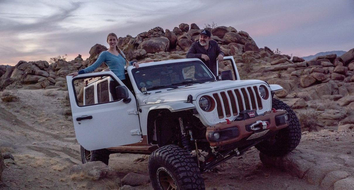 Kelsey Rowlings and Ara Kirakosyan in Johnson Valley OHV park in Southern California.