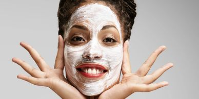 woman with a facial mask