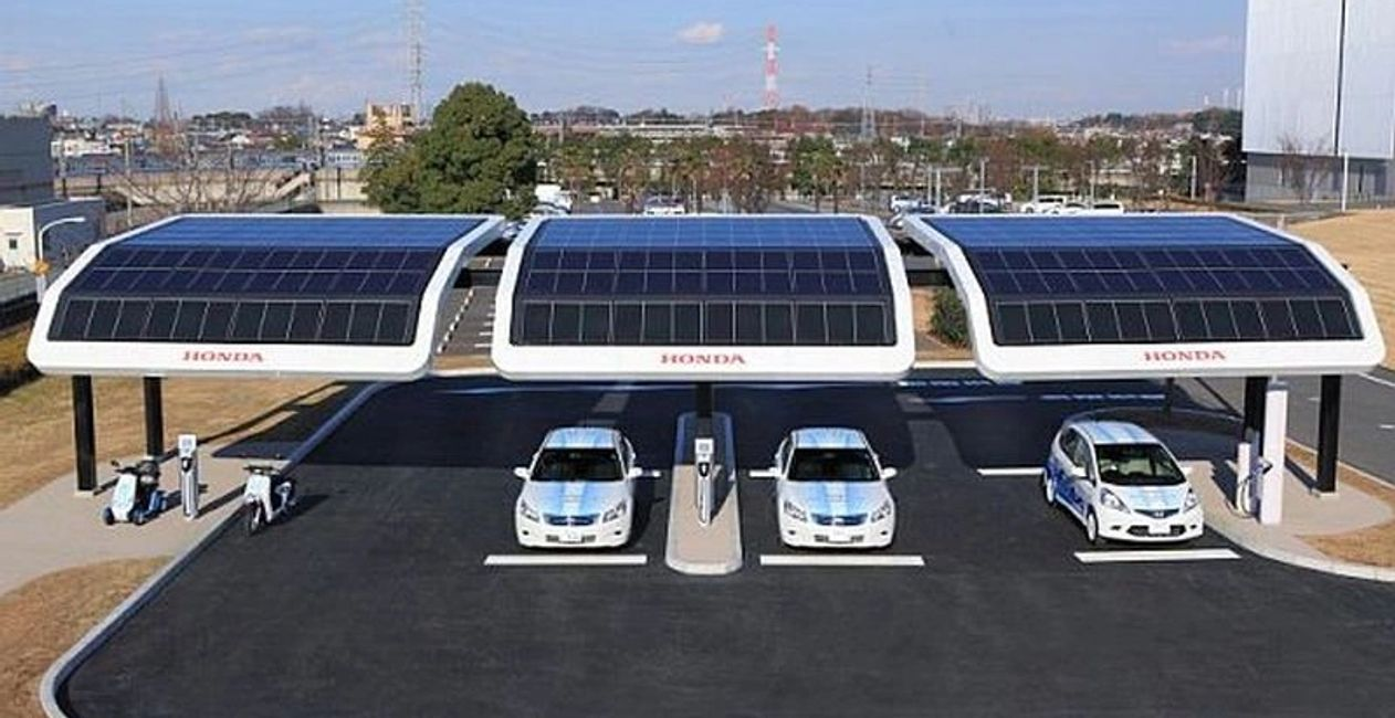 Off grid solar charging platform.  Providing shade, while producing power for auto- truck fleet.