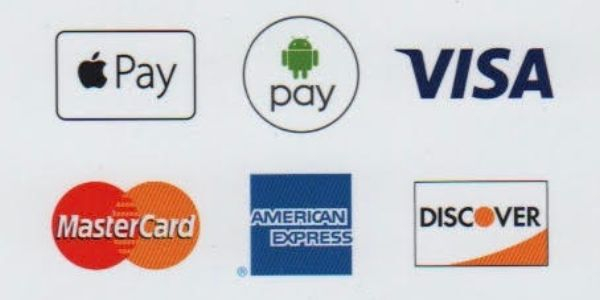 Apple Pay, Android pay, Visa, Discover, MasterCard,  And American Express Payment Methods