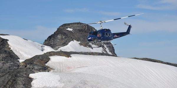 Bell 205 helicopter sight seeing glacier