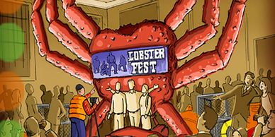 Trade show, exhibit, lobster, photo op, illustration
