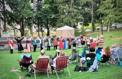 "The cast of ""Merry Wives of Windsor"" takes a bow after a rousing Saturday show in August 2018..."