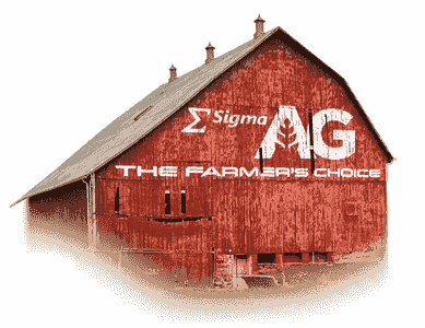 Image of red barn with Sigma Ag logo on it.