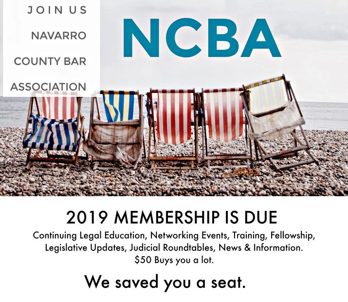 2019 NCBA Membership is Due Now. Navarro County Bar Association Join