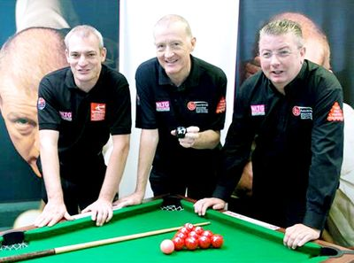 The Snooker Barn Coach Andrew Green with Steve Davis and Chris Lovell
