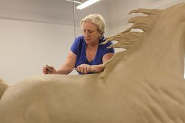 Life size in progress. Here Anne is sculpting a life size Saddlebred/Arabian horse to 7' tall.