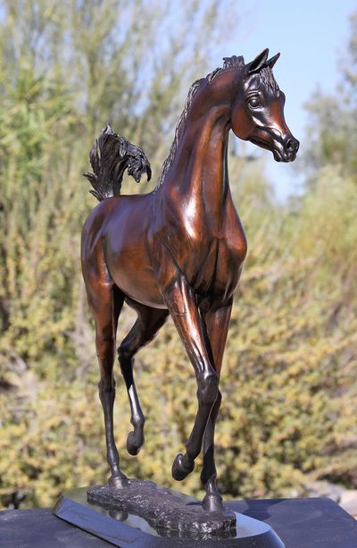 Arabian horse filly bronze sculpture