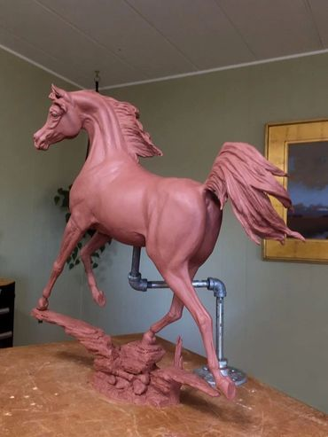 Exciting equine sculpture show here in the original clay to be cast in Fine Art bronze.