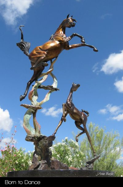 Sculpture in Bronze of Mare and Foal