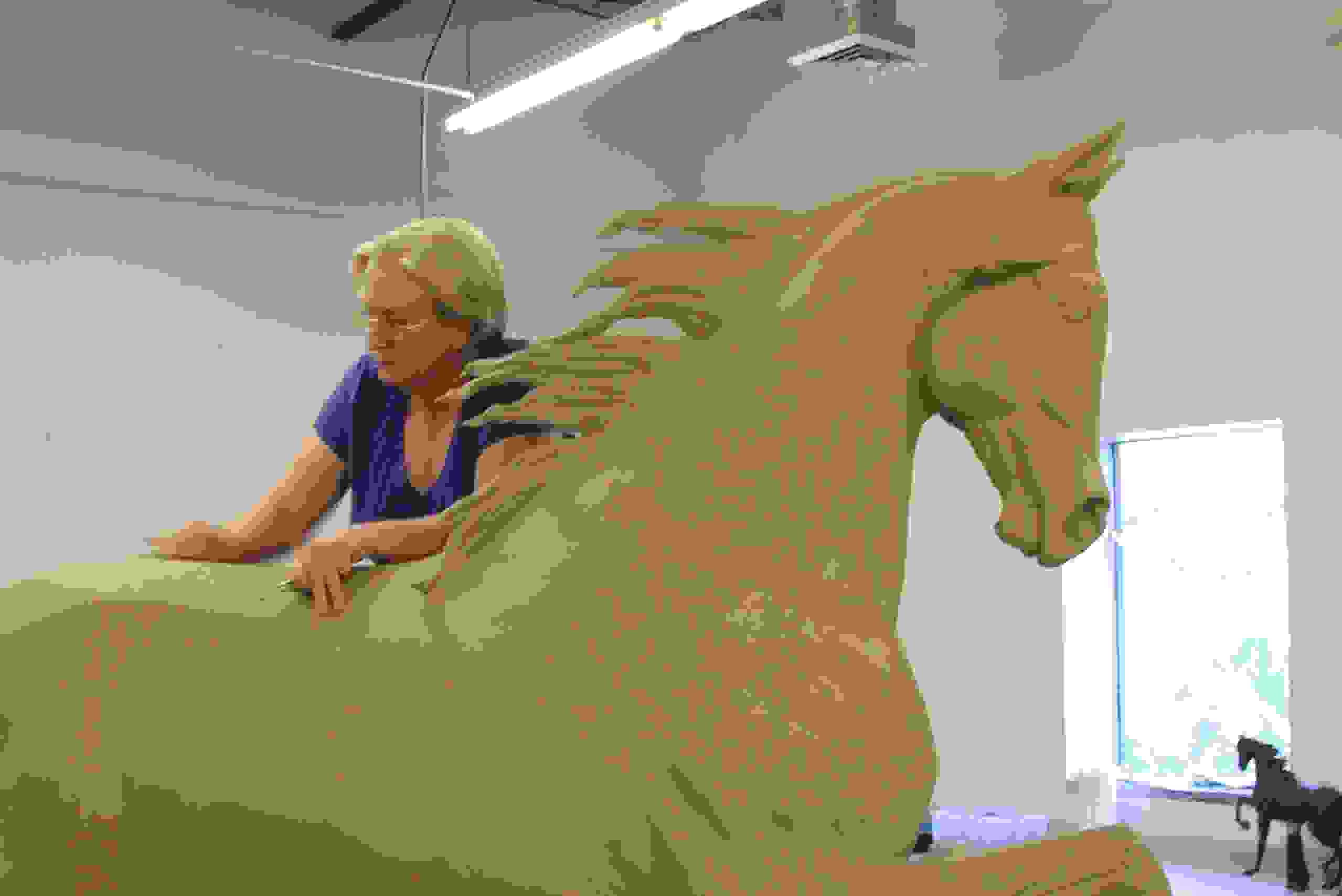 Anne working on a Life size bronze equine commission for US client .