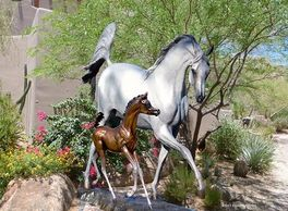Arabian Mare and Foal Monumental Bronze Sculpture