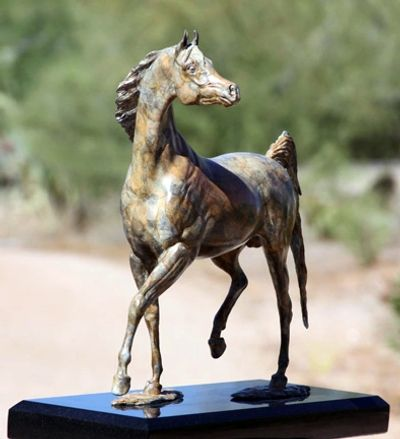 Arabian Stallion Bronze Sculpture finished in contemporary  bronze patina.