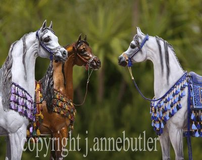 Arabian Horse Bronze Sculptures with handpainted embellishment and bridles