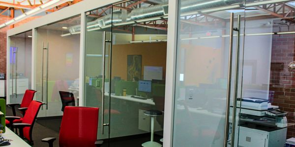office partition, glazing, commercial, Stainless steel, door hardware, heavy glass, frameless