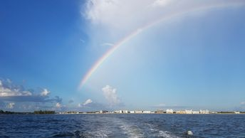 rainbow, Gulf of Mexico, Venice Beach, North Jetty, South Jetty, Venice Inlet, boat tour, sunset