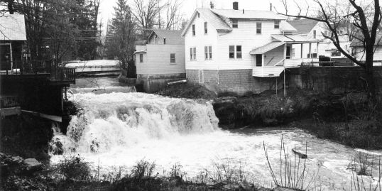 Woodstock Waterfall Park, Woodstock NY Historical Photo of the Tannery Brook Falls during a flood