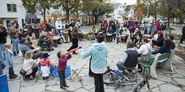 Famous Woodstock Village Green drum circle every Sunday afternoon, Woodstock NY Vacation Rental
