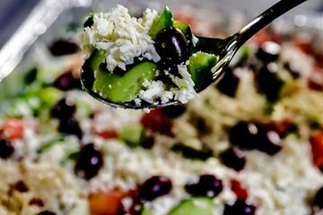 Greek salad for catering orders.