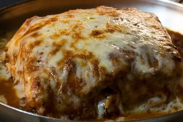 Special house lasagne with five kinds of cheese.
