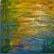 Water Garden, Encaustic on board