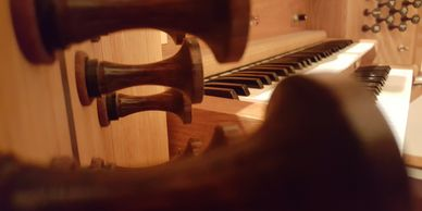 An up-close look at the stops and keys of the organ at First Lutheran Church