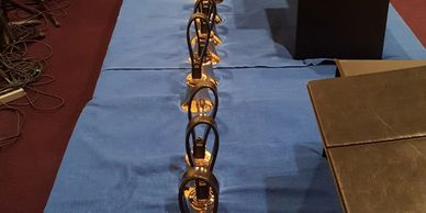 All the Handbells at First Lutheran Church lined up in a row for Christmas Eve