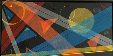 Geometrical abstraction, mixed media art, large scale art, colorful art, abstract art