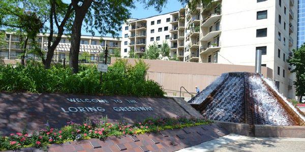 A gurgling fountain marks the entrance to the Loring Greenway from the Nicollet Mall.