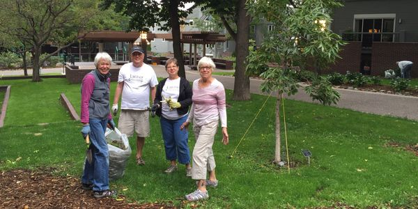 Spring through fall, local residents and office workers volunteer to plant, weed and water.