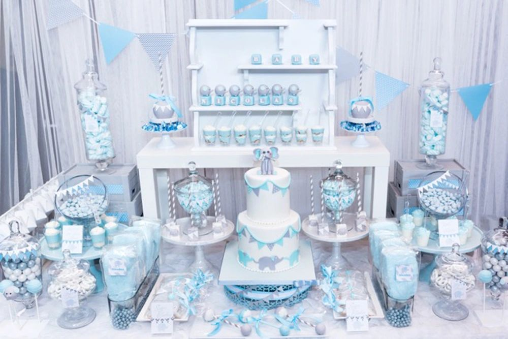 Baby Blue And Gray Elephant Themed Baby Shower