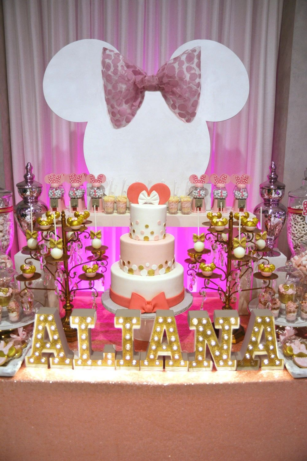 Pink And Gold Minnie Mouse Table Decorations from img1.wsimg.com