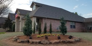 trees evergreen shrubs perennial boulder flowers metal edge install remove replace new landscaping