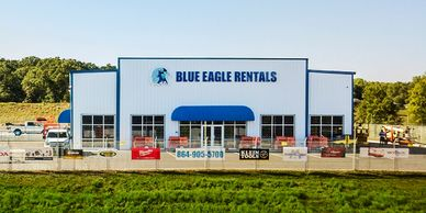 Blue Eagle Rentals Greenville, SC store front equipment rental store and safety supplies