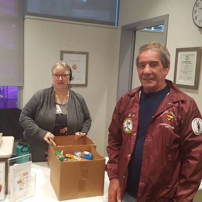 Ace Gilbert, member Leslie Co. SC & Temple Transportation, delivering candy to the Medical Center.