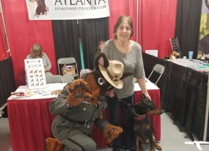 Fundraising Chair Kathy Gresham, Pony and friend at the Atlanta Pet Expo in April.