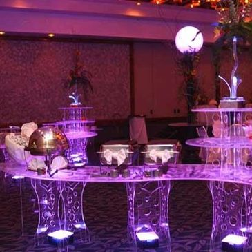 Up-Lights, Pipe & drape, Lighted tables, Decor
